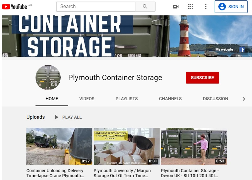 Plymouth Container Storage YouTube Channel